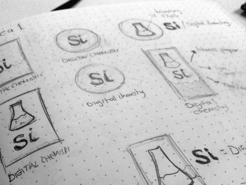 initial sketches of the Si logo
