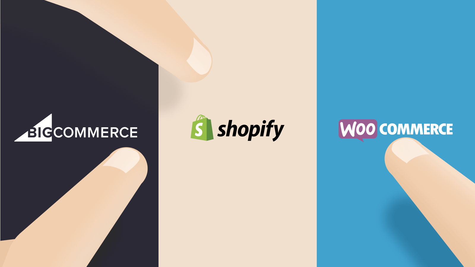 Ecommerce software options - illustration of people choosing between Big Commerce, Woo Commerce and Shopify