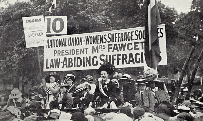 Millicent Fawcett addresses an estimated 50,000 women at a mass rally in Hyde Park, London – July 1913