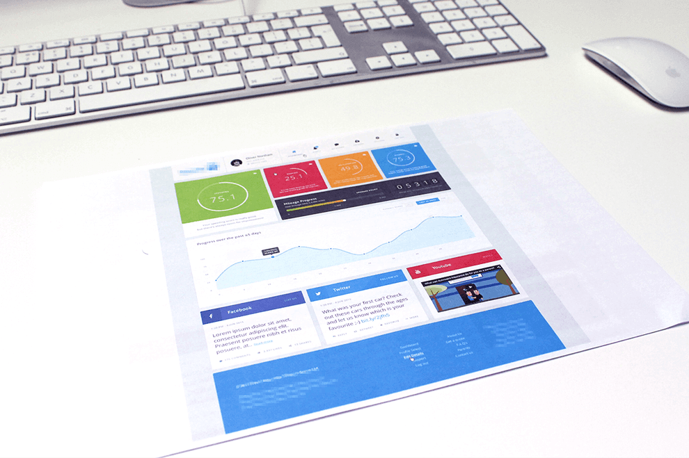 A website design printed on A3 paper