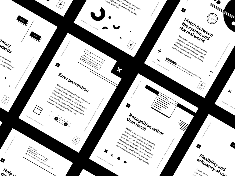 A montage of usability posters
