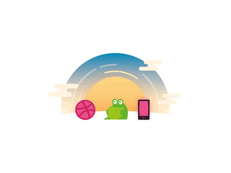 Screaming frog, dribble and a mobile sit in front of a sun