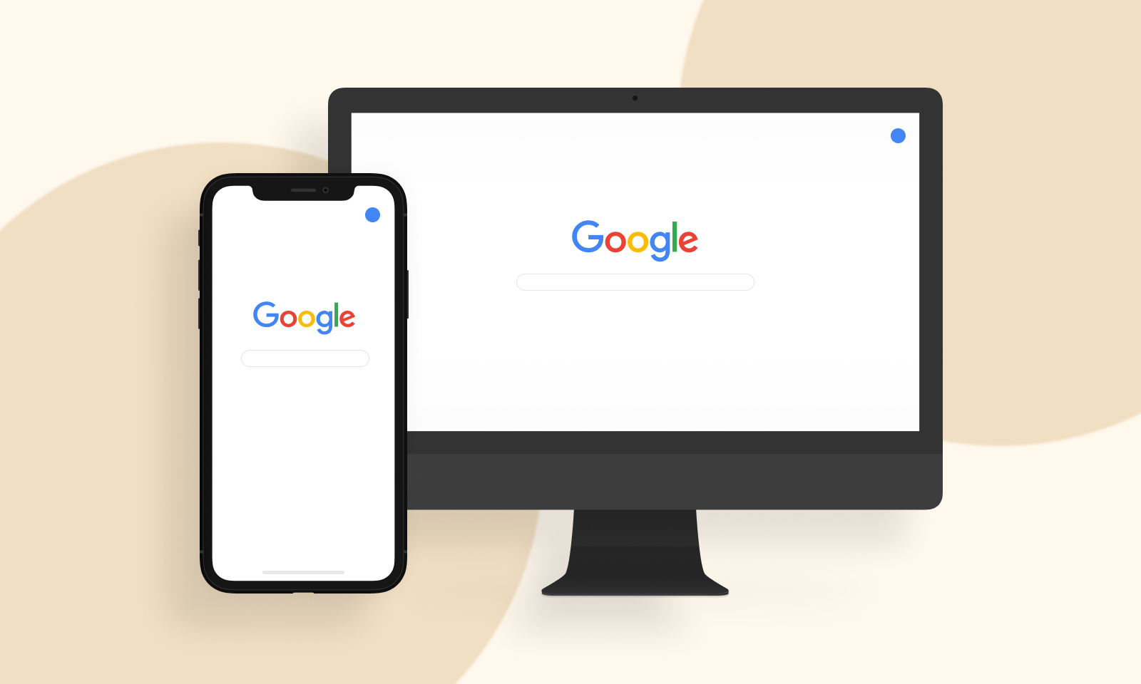 both mobile and desktop display for a search engine