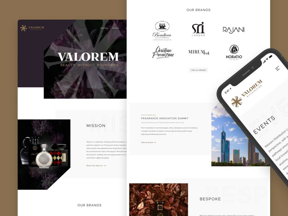 Valorem Distribution website design
